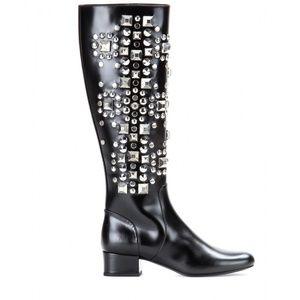 YVES SAINT LAURENT Black Leather Studded Boots